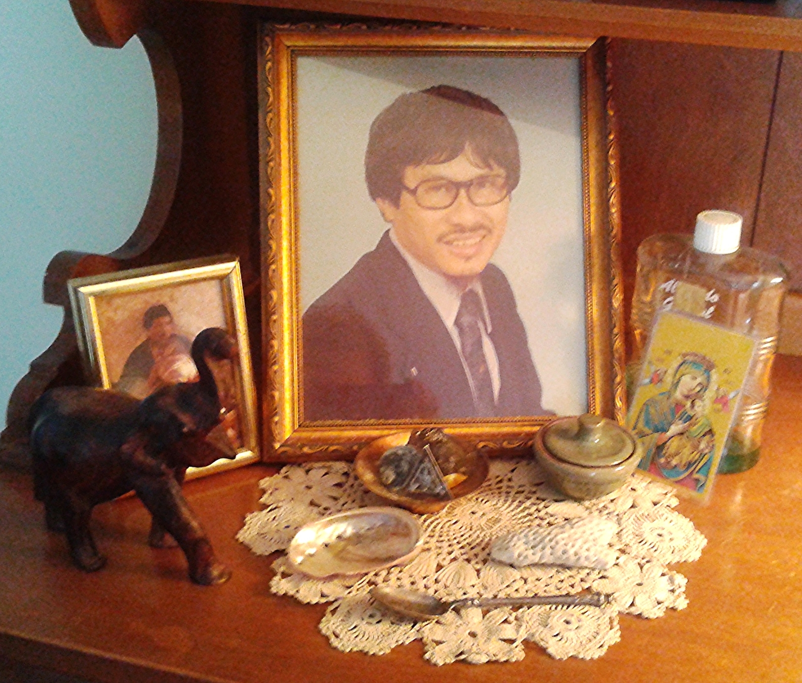 There are many shrines around our home including this one, dedicated to my father, Victor Hong Chu Look Kin.
