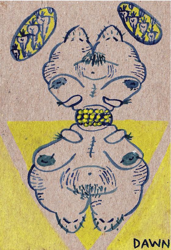 "Gratitude Postcard for Aijung, Watercolor on cardboard, 4"" x 5.5"""