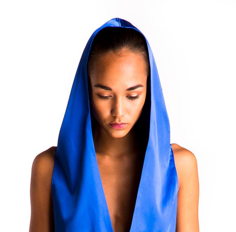 catherinegee model photoshoot blue evening dress fashion hood