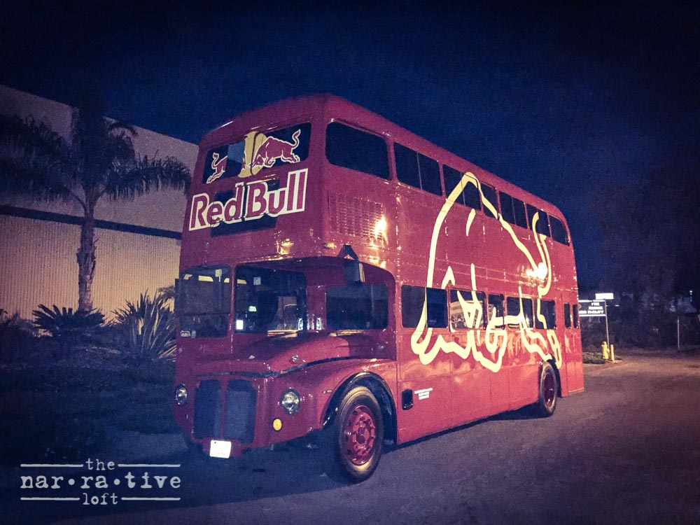 red bull bus athletes- gives you wings the narrative loft
