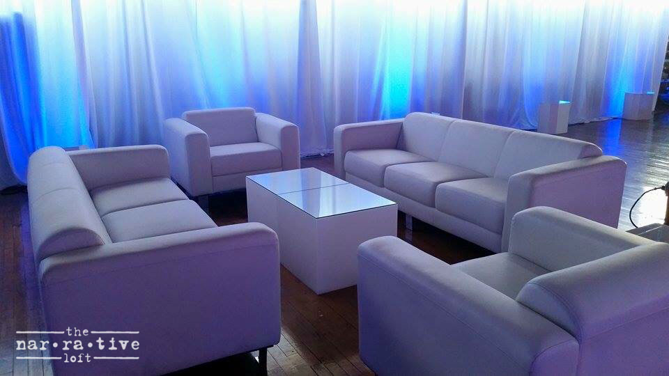 Lounge area provided by Town & Country Event Rentals.