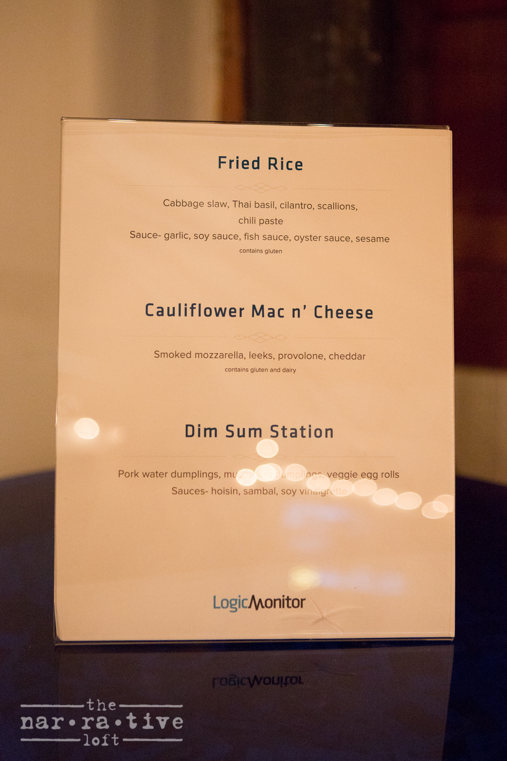 Delicious menu from The Blue Owl.