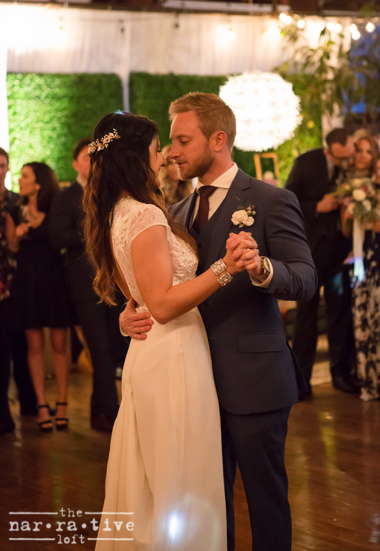 Jordan and Erik swayed with each other to oldies music for their first dance during their romantic mid-century modern affair.