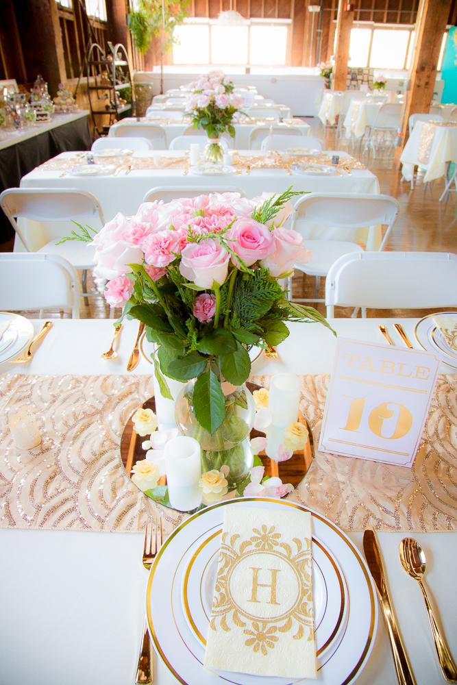 Gorgeous gold accents and perfect pink roses graced the tables.