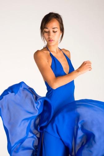 Stunning blue halter dress.