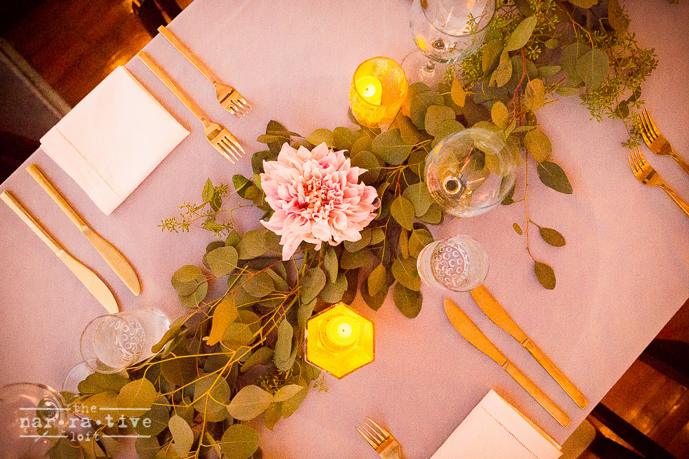 The leaf table runners looked even more stunning from above.