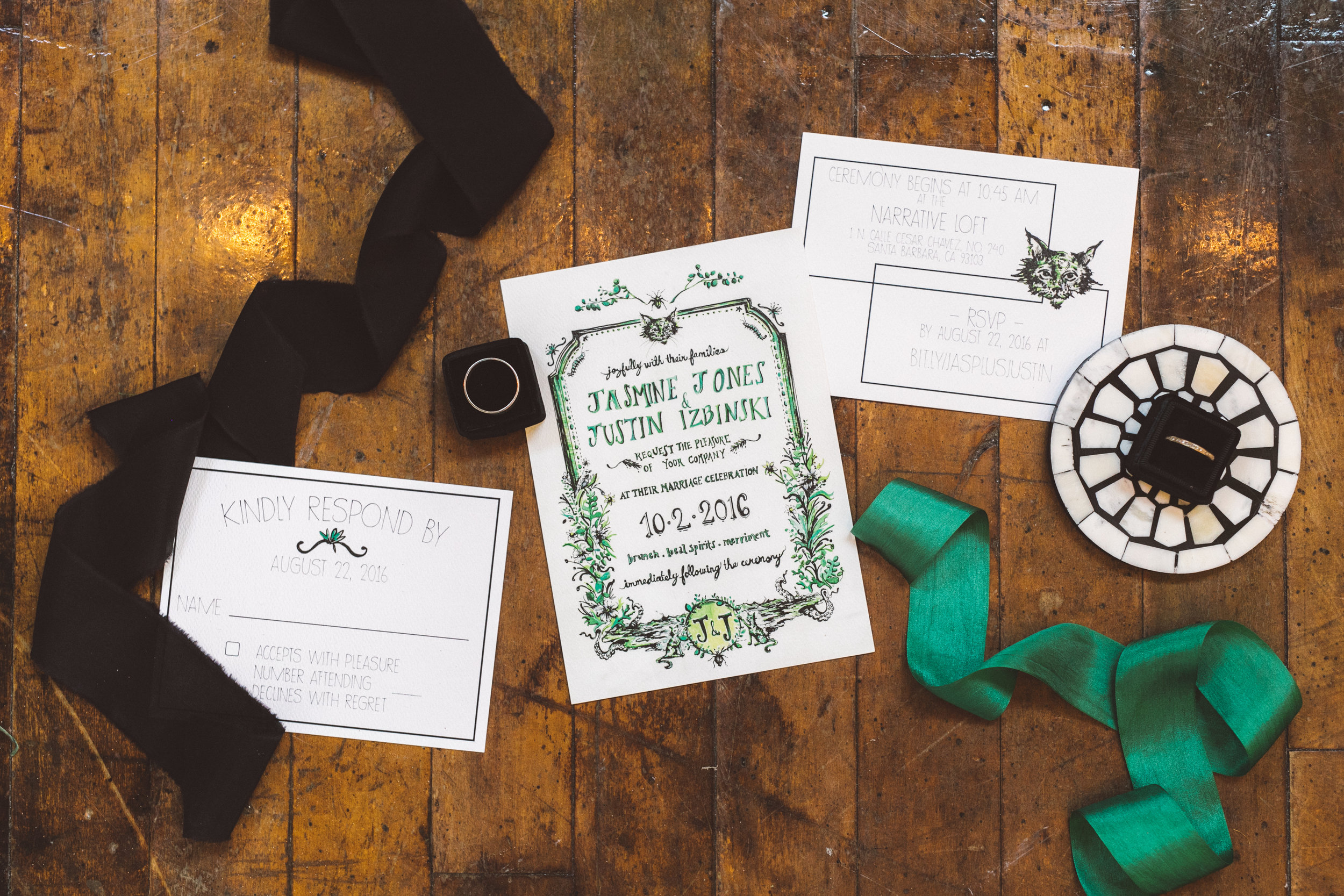 The hand designed invitations.