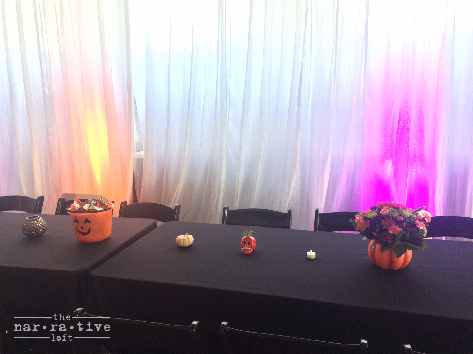 Buckets of candy and sugar skulls turned this bash into a monster mash.