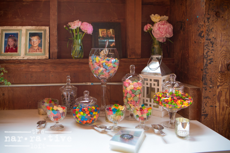 """A candy station to keep you """"sweet"""" all night long."""