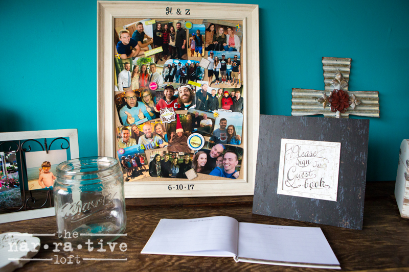 Starting new memories as guests' signed the Guest book for their new life together, next to a walk down memory lane with old pictures from their life so far.