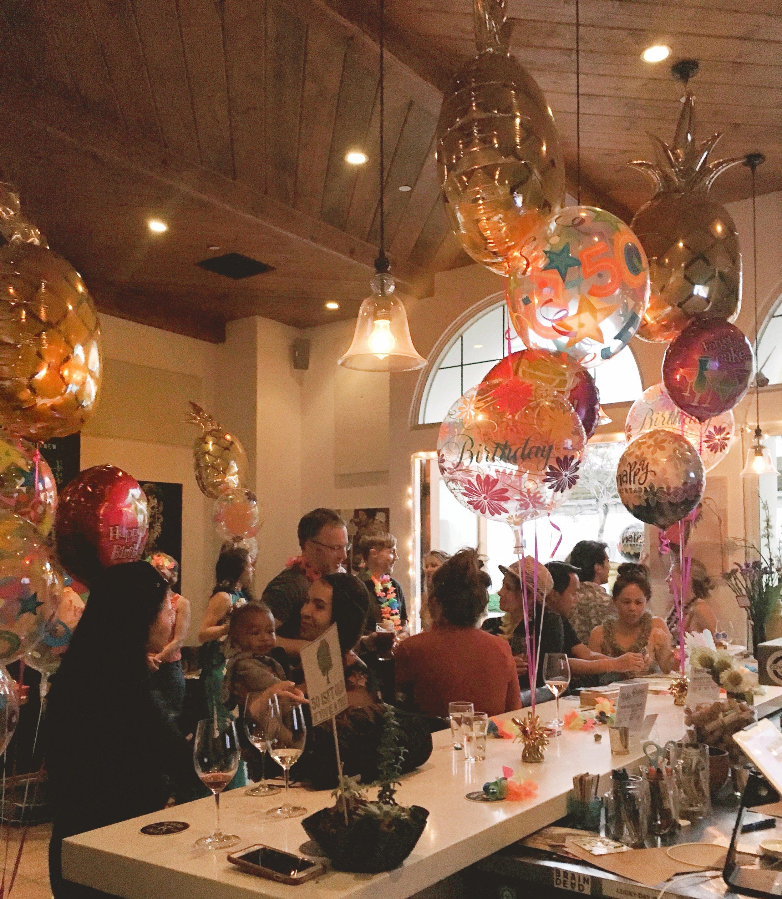 birthday celebration at Villa Wine Bar