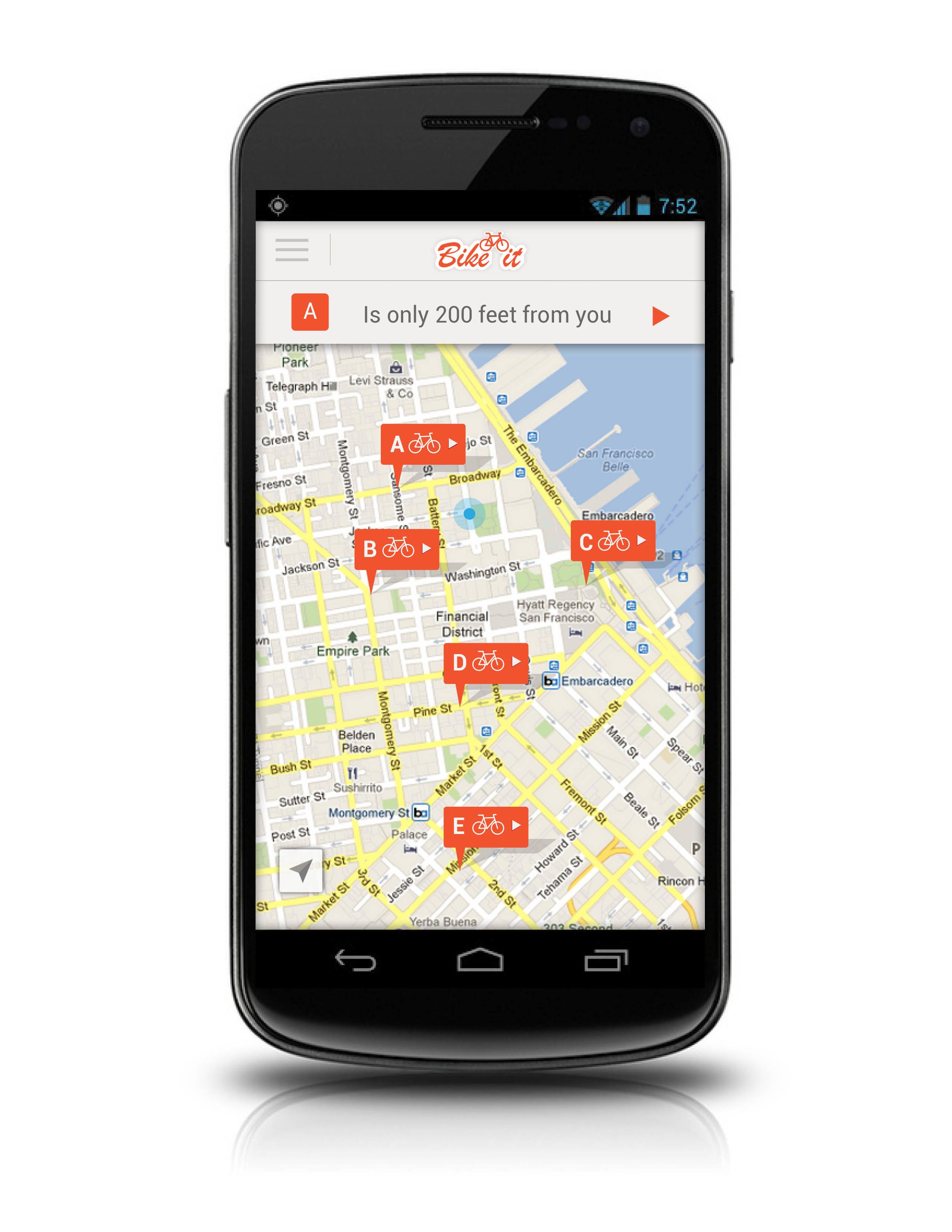 Mobile Mockup Sample—find a BikeIt station