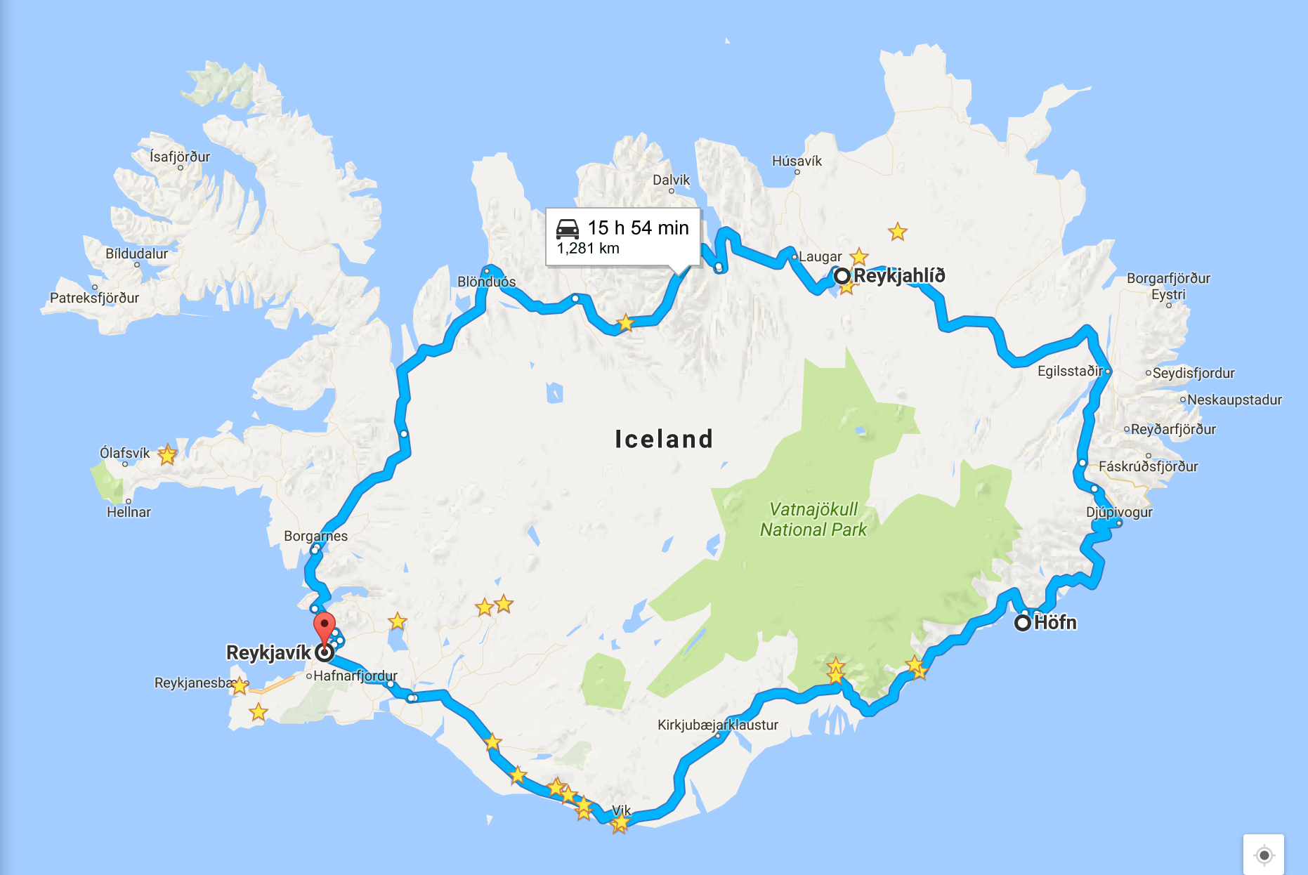 "The blue line is Highway 1 or the ""Ring Road"" that goes all the way around Iceland. We drove on this road for more of our trip. Although in winter, some of it gets cover and is inaccessible which we encountered."