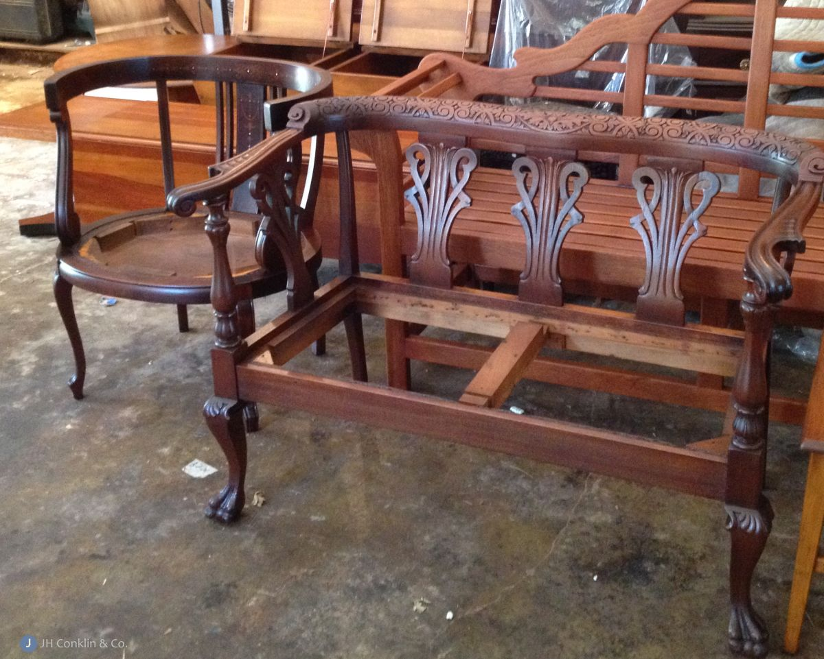 Refinished Settee and Chair
