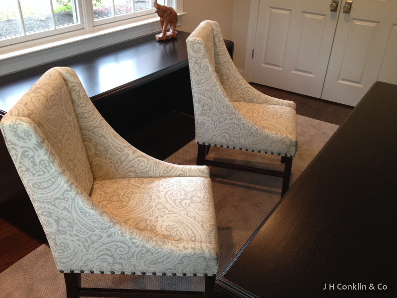 Guest chairs re-covered with a restrained random pattern for a Haddonfield, NJ office.