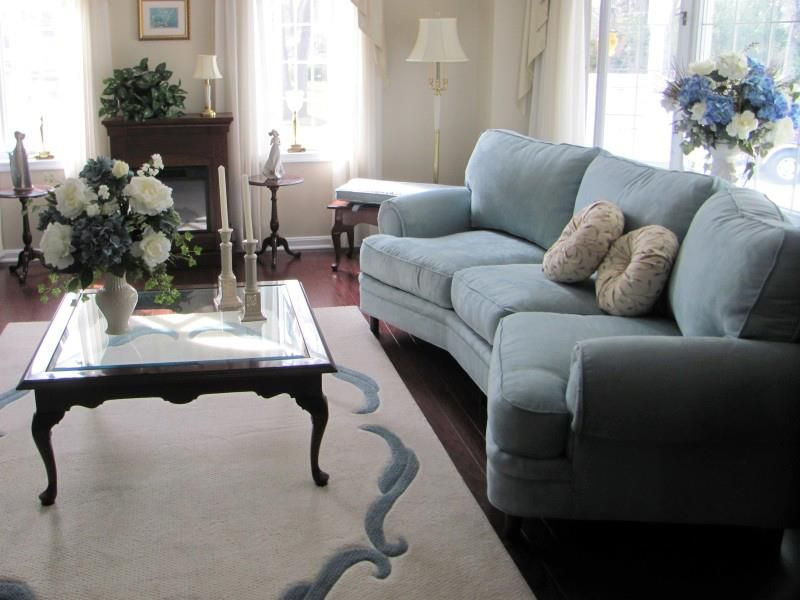 Blue Velvet Sofa - Plush Cushions - Washington Twp