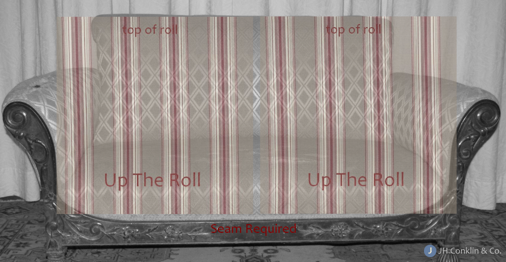 Normal or up-the-roll fabric requires seaming two pieces of fabric.