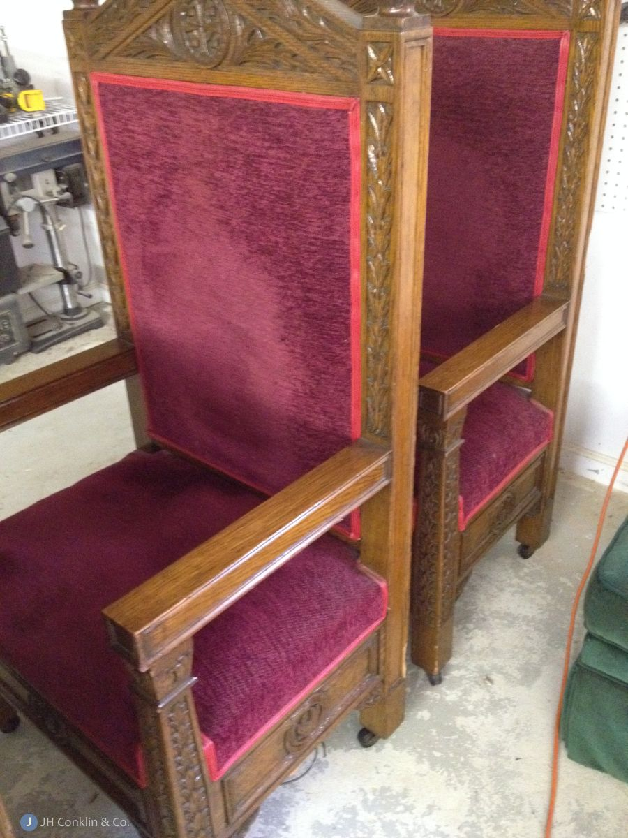 More recent upholstery, springs peeking out.  Booth trim.