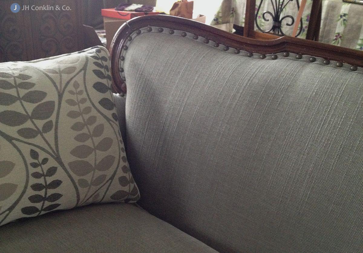 Modern fabric on traditional sofa