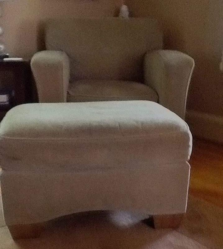 Club chair and ottoman before reupholstery - Pilesgrove NJ