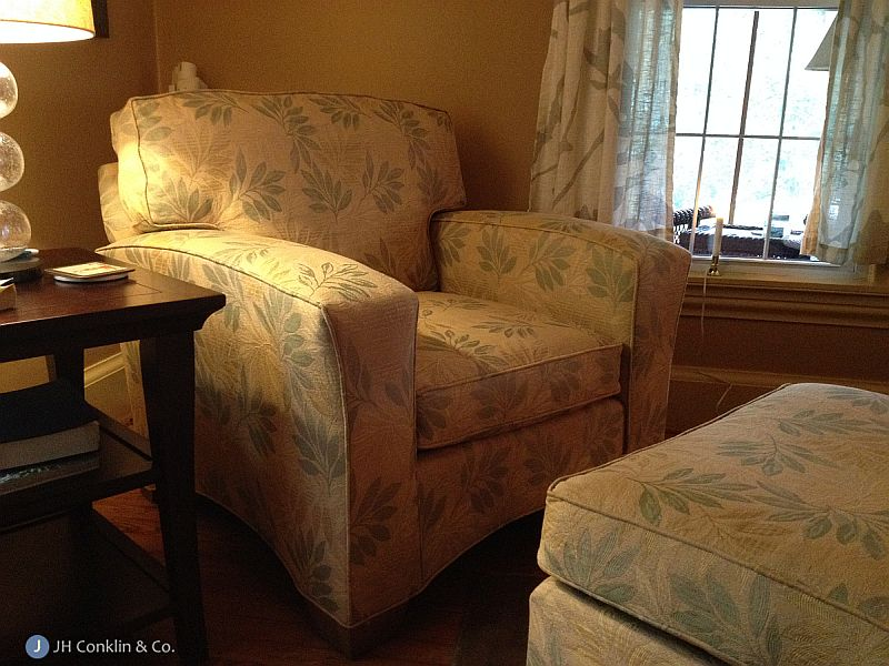 Chair and ottoman re-upholstered Pilesgrove New Jersey