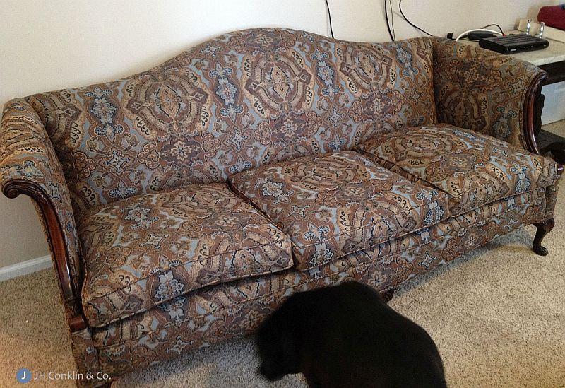Camel back sofa after reupholstery