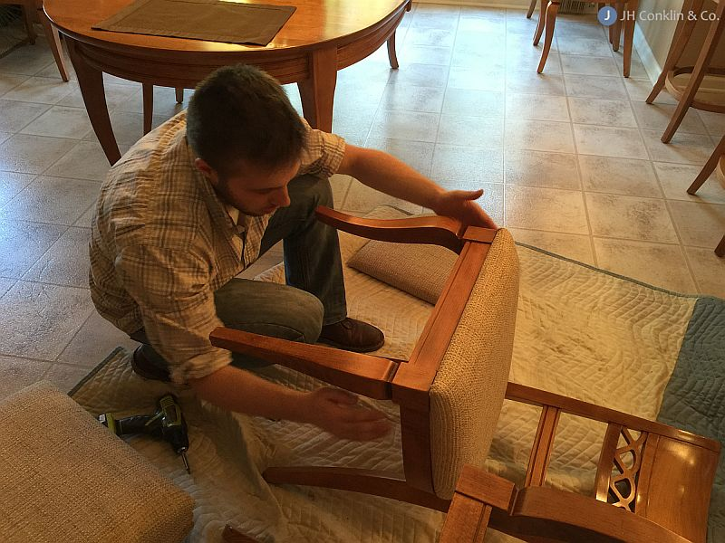 Installing re-upholstered chair seats