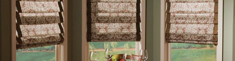 Banded hobbled Roman shades New Jersey