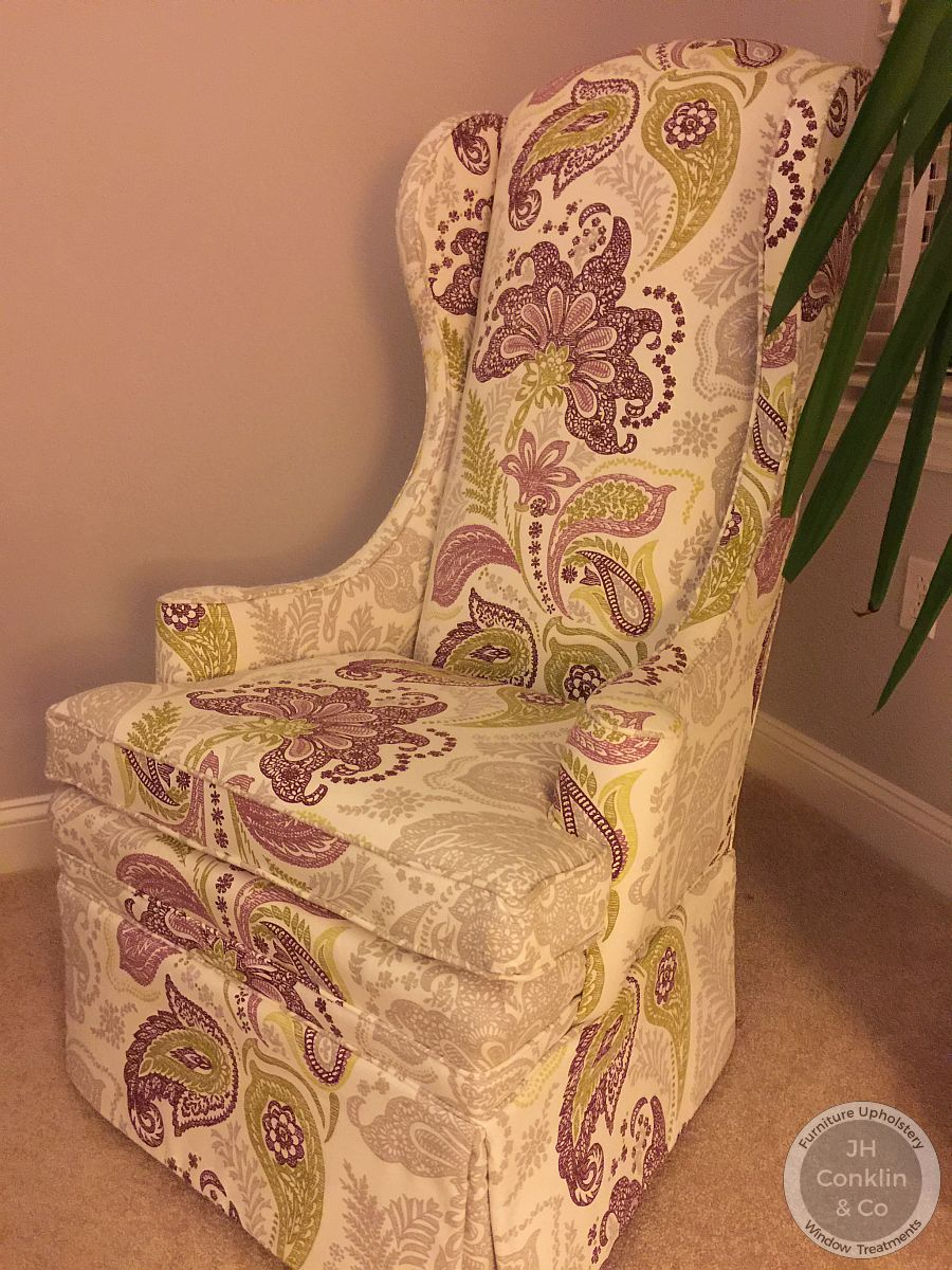Reupholstered wing chair in Moorestown NJ