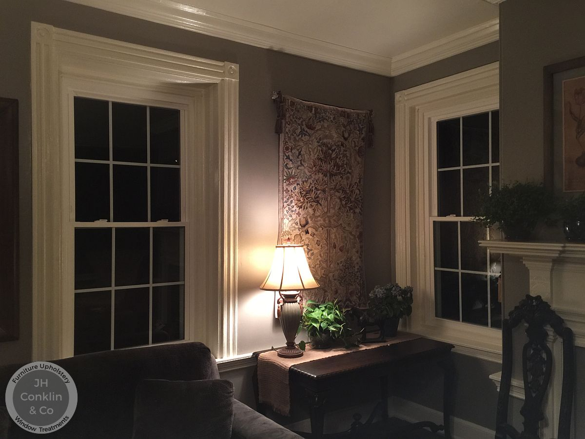 Living room windows for Roman shades in Gloucester County NJ