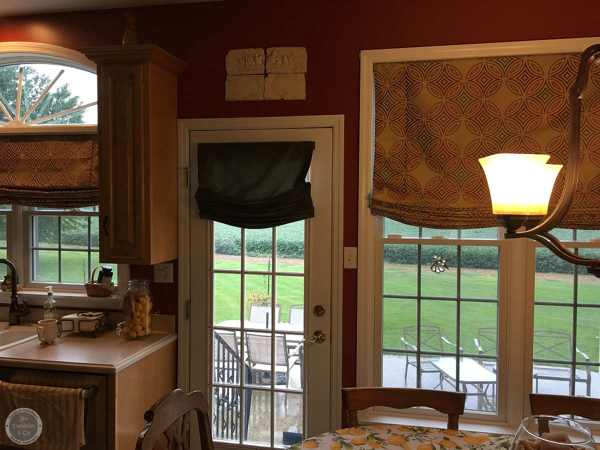 Kitchen Shades - Relaxed Roman - Bright afternoon sun overpowered the cellular shades in this New Jersey kitchen. And