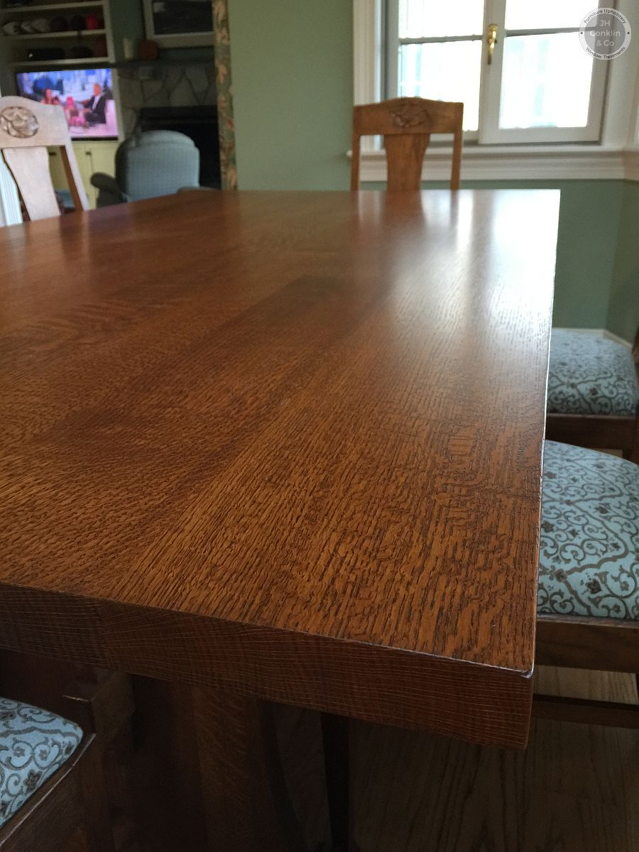 Stickley oak dining table refinished Moorestown NJ