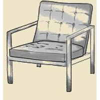 open arm mid century modern tufted chair