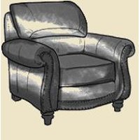 roll arm chair with nails