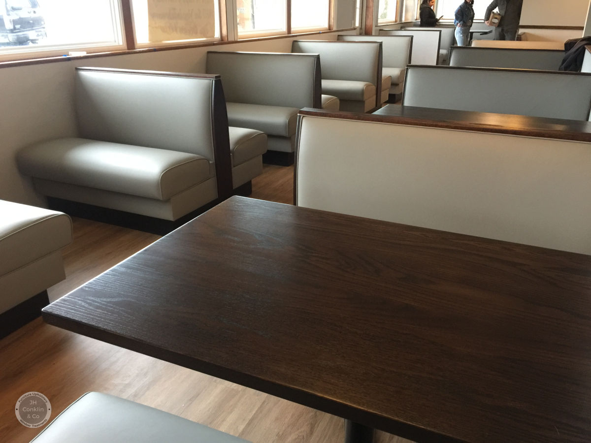 Seats, backs and bases re-covered in a soft grey Nytek engineered faux leather.  The  Oceanview Family Restaurant  in Cape May, NJ revived their interior over the winter.  Ready for the new season with a fresh, durable look!