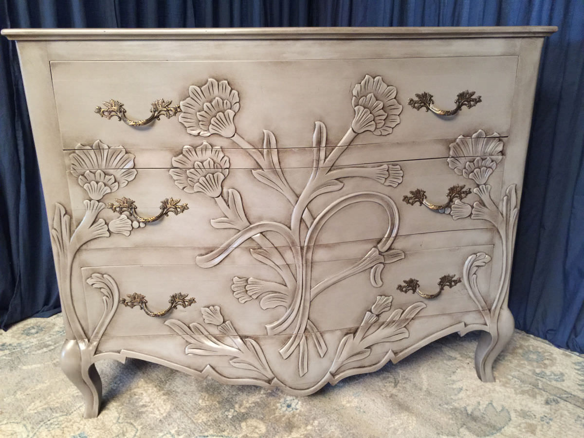 carved front chest finished in colored lacquer with glazed accents for sale in nj
