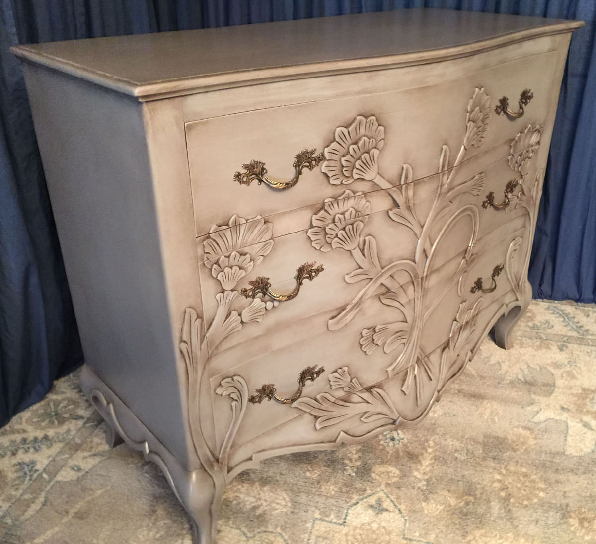 unique professionally painted carved chest for sale in the Philadelphia area