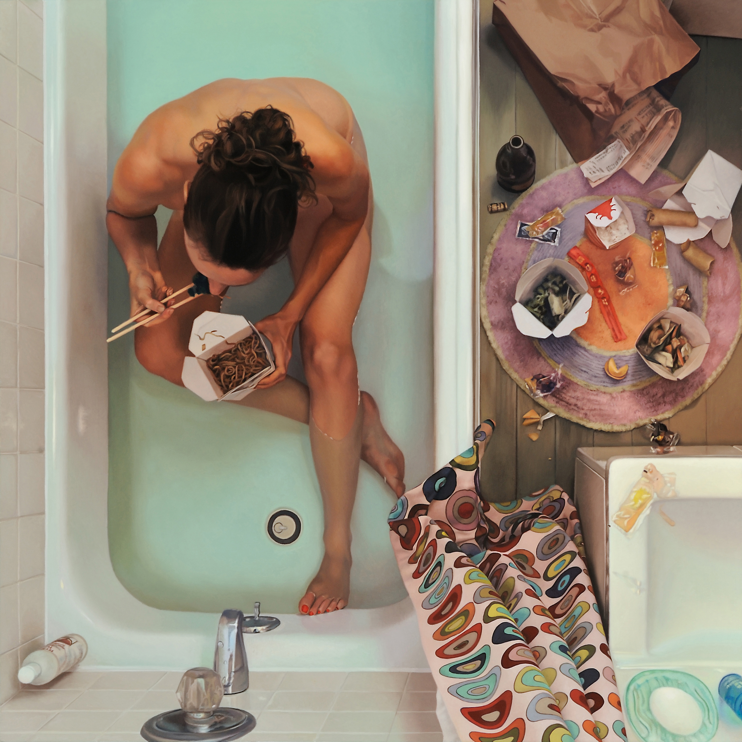 """Self Portrait in Tub with Chinese Food  , 2009  Oil on Linen  44'"""" x 44"""""""
