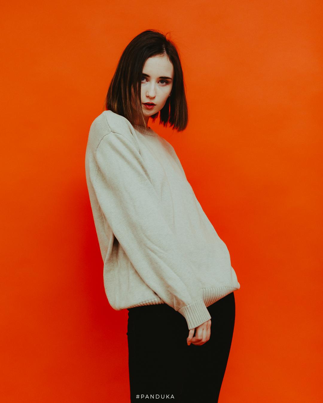 Model On Orange Background 1