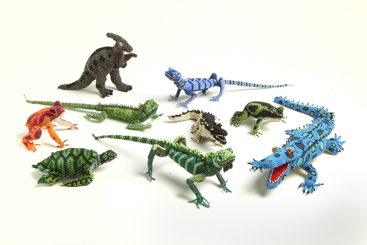 Colorful small beaded animals