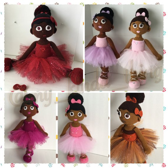 collage of 6 Aniqua Wilkerson's handmade African American ballerina dolls