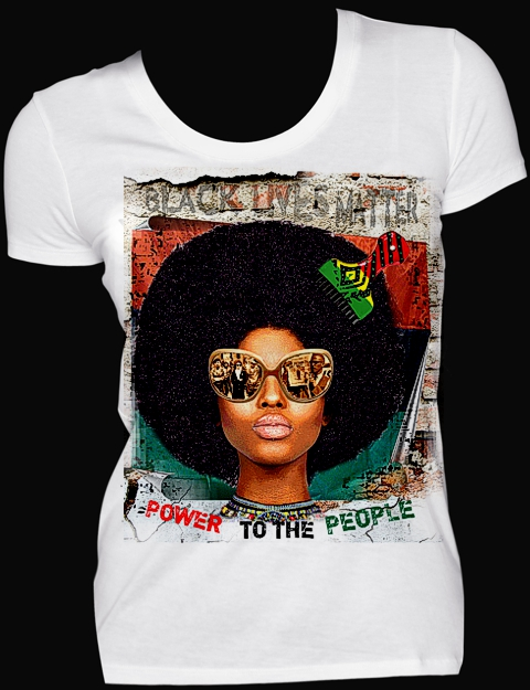 Colorful t-shirt with Power to the People slogan