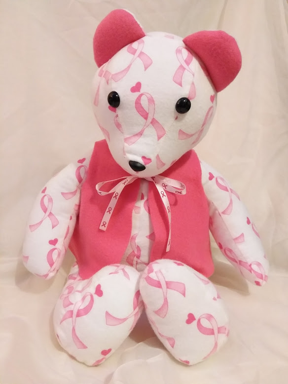 Pink and white breast cancer awareness ribbon handmade teddy bear