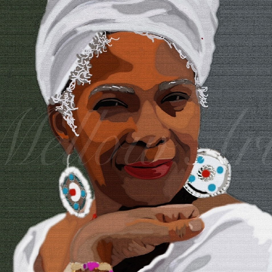 digital art of an African American woman with white turban by Mellow Arts