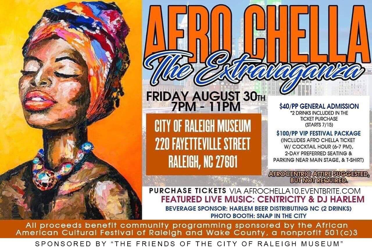 AfroChella flyer, listing date, time, ticket, and sponsor information