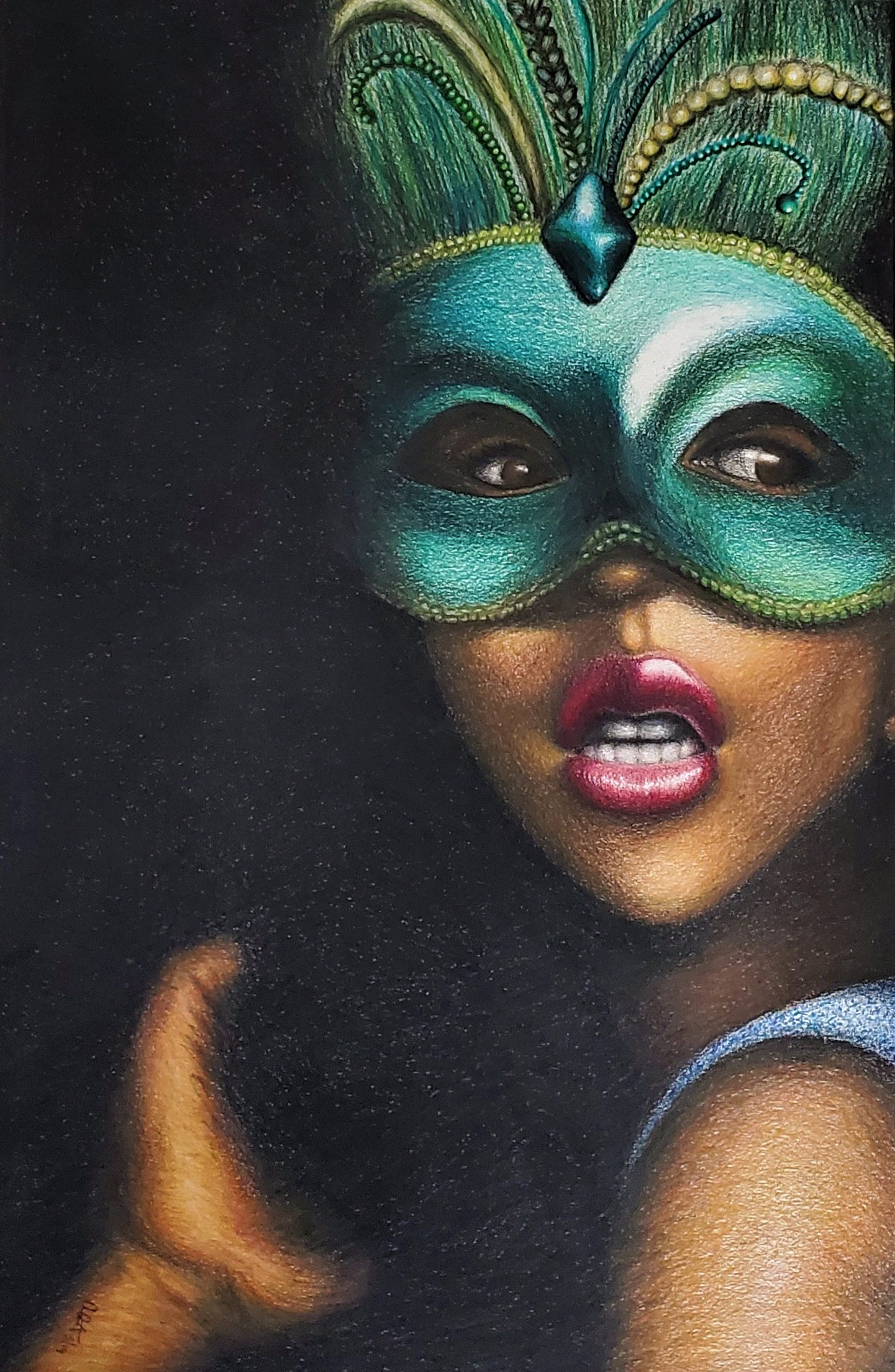 African American woman in mask painting by Ashley Armstrong