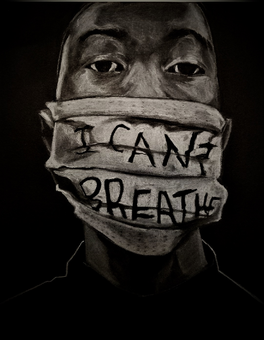 """I Can't Breathe,"" image of African American man with gag by Clarence Heyward"