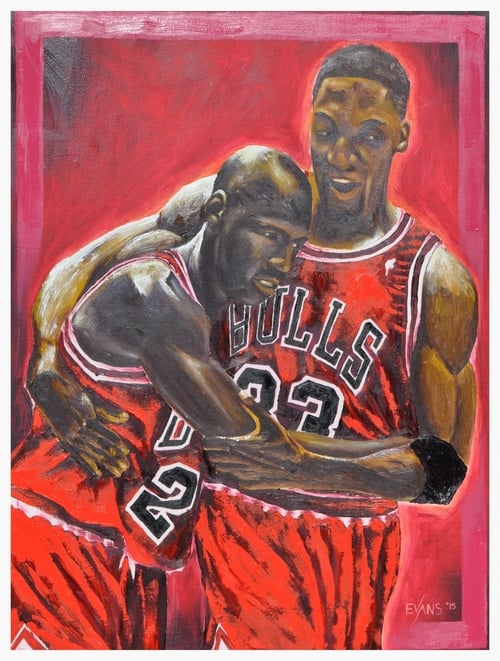 painting of Michael Jordan and Scottie Pippen in Chicago Bulls uniforms, by artist Chris Evans