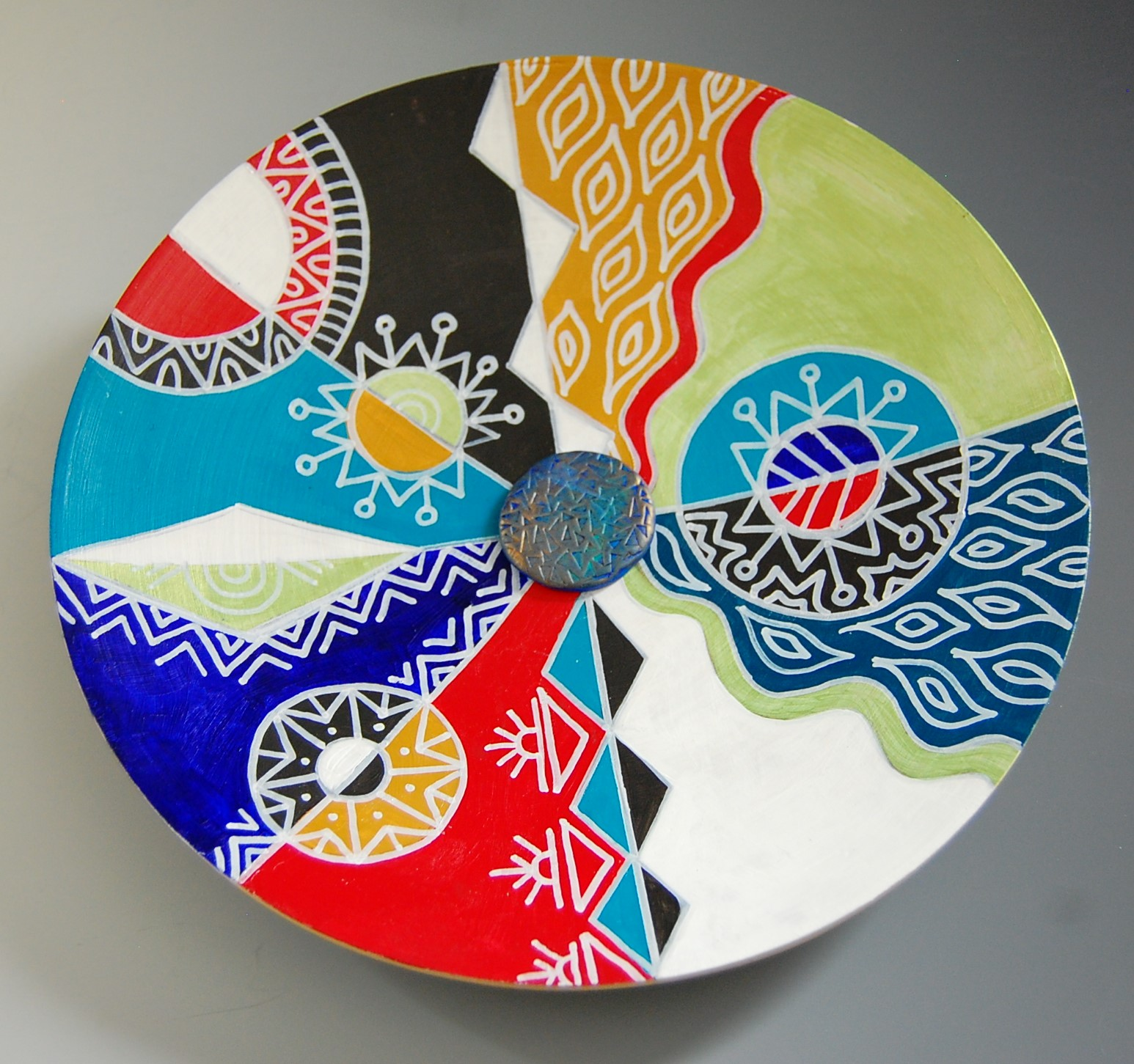"colorfully painted 12"" bamboo plate with clay center by Michelle Davis Petelinz"