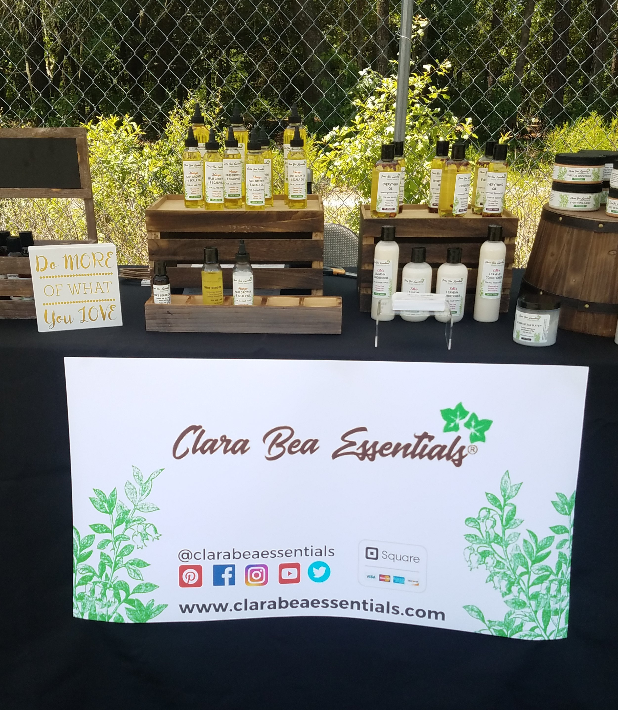 Clara Bea Essentials booth with health and beauty items for sale